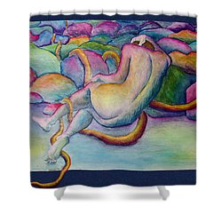 Entangled Figure With Rocks Shower Curtain by Nancy Mueller