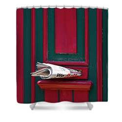Entrance Door And Newspaper Shower Curtain by Heiko Koehrer-Wagner