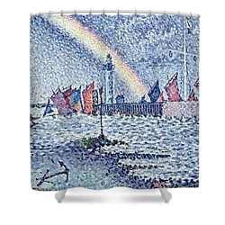 Entrance To The Port Of Honfleur Shower Curtain by Paul Signac