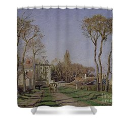 Entrance To The Village Of Voisins Shower Curtain by Camille Pissarro