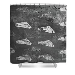 Shower Curtain featuring the painting Eoliths Grayscale by Robin Maria Pedrero