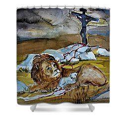 Shower Curtain featuring the painting Ephesians 2 13 by Mindy Newman