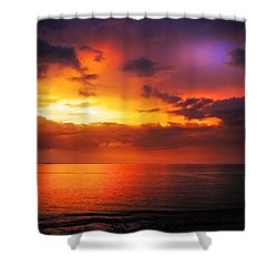 Epic End Of The Day At Equator Shower Curtain by Jenny Rainbow