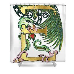 Epsilon Eagle In Green And Digital Gold Shower Curtain