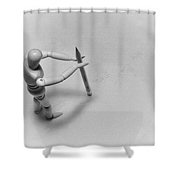 Shower Curtain featuring the photograph Erasing His Tracks by Mark Fuller