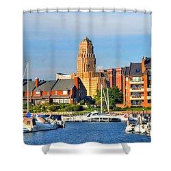 Erie Basin Marina Shower Curtain by Kathleen Struckle