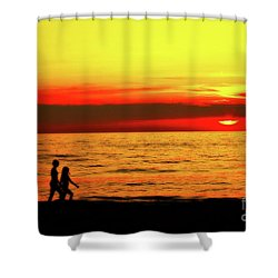 Erie Beach Sunset Shower Curtain by Randy Steele