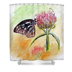 Erika's Butterfly Two Shower Curtain by Clyde J Kell