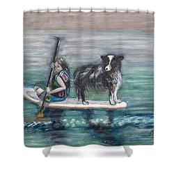 Erin And Oakie On The Paddle Board Shower Curtain
