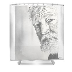 Ernest Hemingway Shower Curtain by Antonio Romero