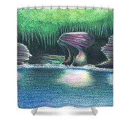 Eroding Away Shower Curtain by Sotiri Catemis