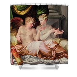 Eros And Psyche Shower Curtain by Niccolo dell Abate
