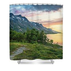 Ersfjord Sunset Shower Curtain