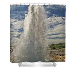 Erupting Geyser In Iceland Shower Curtain
