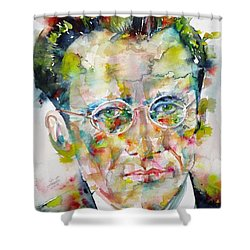 Shower Curtain featuring the painting Erwin Schrodinger - Watercolor Portrait by Fabrizio Cassetta