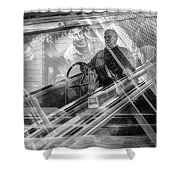 Shower Curtain featuring the photograph Escalator Collage 1 by Dave Beckerman