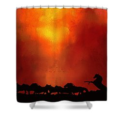Escaping The Inferno Shower Curtain by Diane Schuster