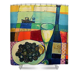 Shower Curtain featuring the painting Escargot by Mikhail Zarovny