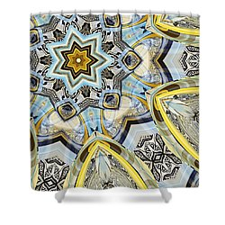 Shower Curtain featuring the digital art Escher Glass Kaleido Abstract #2 by Peter J Sucy