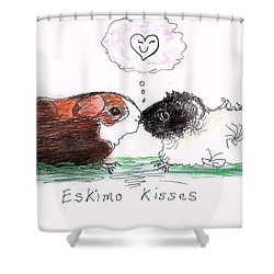 Shower Curtain featuring the drawing Eskimo Kisses by Denise Fulmer