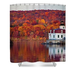 Esopus Lighthouse In Late Fall #1 Shower Curtain by Jeff Severson