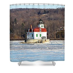 Shower Curtain featuring the photograph Esopus Lighthouse In Winter #2 by Jeff Severson