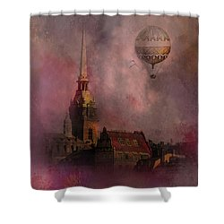 Shower Curtain featuring the digital art Stockholm Church With Flying Balloon by Jeff Burgess