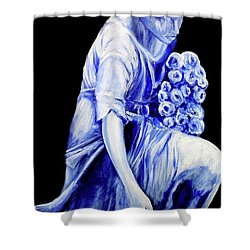 Flower Girl In Blue Shower Curtain