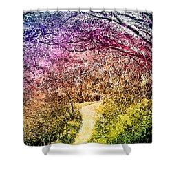 Shower Curtain featuring the digital art Ethereal Garden Pathway - Trail In Santa Monica Mountains by Joel Bruce Wallach