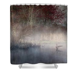 Shower Curtain featuring the photograph Ethereal Goose by Bill Wakeley