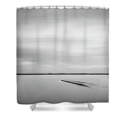 Ethereal Long Exposure Of A Pier In The Lake Shower Curtain