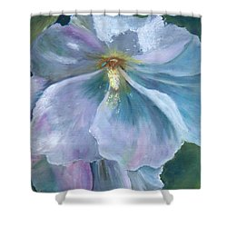 Ethereal White Hollyhock Shower Curtain