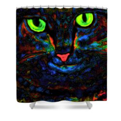 Ethical Kitty See's Your Dilemma Light 2 Dark Version Shower Curtain by Lisa Brandel
