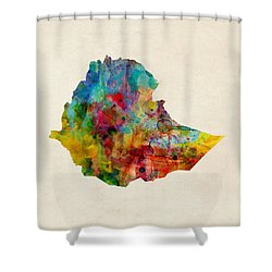 Shower Curtain featuring the digital art Ethiopia Watercolor Map by Michael Tompsett