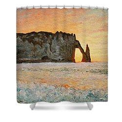 Etretat, Sunset  Shower Curtain by Pierre Van Dijk