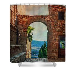Shower Curtain featuring the photograph Etruscan Arch by Hanny Heim