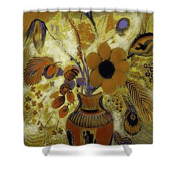 Shower Curtain featuring the painting Etrusian Vase With Flowers by Odilon Redon