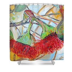 Shower Curtain featuring the painting Eucalyptus Flowers by Reina Resto