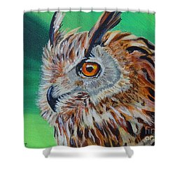 Eurasian Eagle-owl Shower Curtain by Isabel Proffit