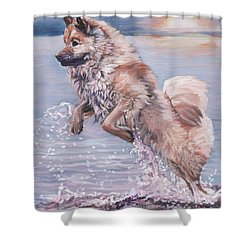 Shower Curtain featuring the painting Eurasier In The Sea by Lee Ann Shepard