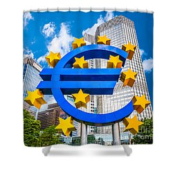 Euro Sign At European Central Bank In Frankfurt, Germany Shower Curtain