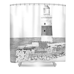 Europa Point Lighthouse Shower Curtain