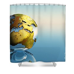 Europe And Africa Shower Curtain by Corey Ford