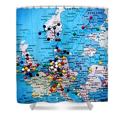 Europe And Russia Map Shower Curtain by Bob Pardue