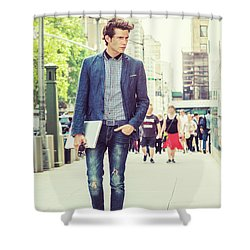 European College Student Studying In New York Shower Curtain