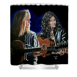 Shower Curtain featuring the painting Eva Cassidy And Katie Melua by Bryan Bustard