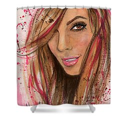Shower Curtain featuring the painting Eva Longoria by P J Lewis