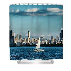 Evan's Chicago Skyline  Shower Curtain