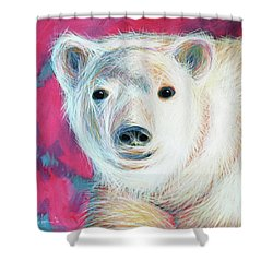Even Polar Bears Love Pink Shower Curtain by Angela Treat Lyon