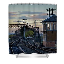 Shower Curtain featuring the photograph Evening At Bo'ness Station by RKAB Works